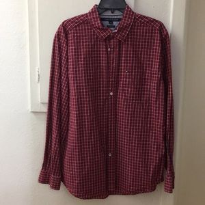 Men's Red Plaid Ling Sleeve Shirt